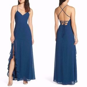Lulus TEAL CHIFFON Luxurious Love LACEUP BACK GOWN
